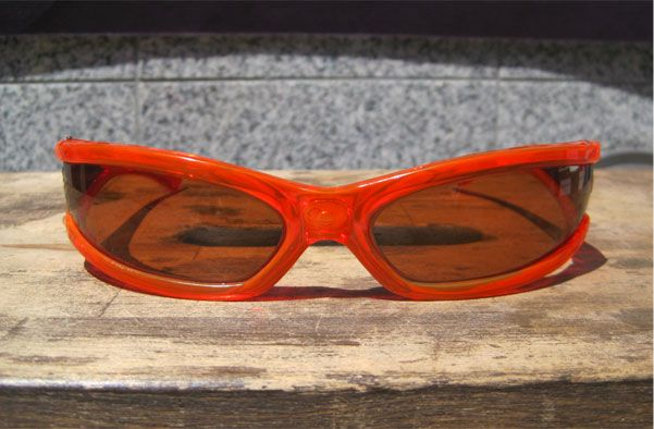 ITALY MADE VINTAGE CATSEYE SUNGLASS CLEAR ORANGE