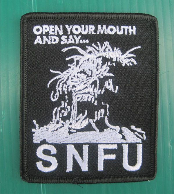 S.N.F.U 刺繍ワッペン OPEN YOUR MOUTH