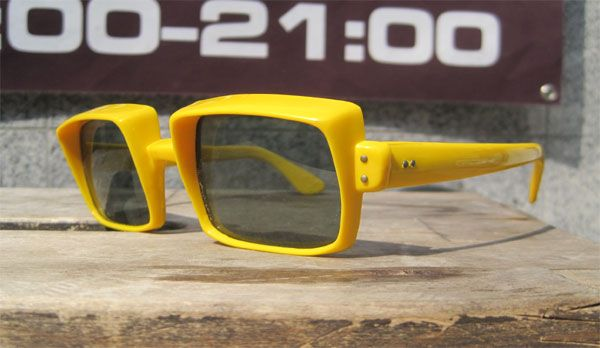 FRANCE MADE VINTAGE SUNGLASS TV STYLE YELLOW