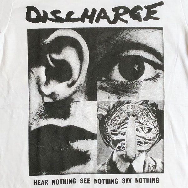 DISCHARGE Tシャツ HEAR NOTHING SEE NOTHING SAY NOTHING オフィシャル! WHITE