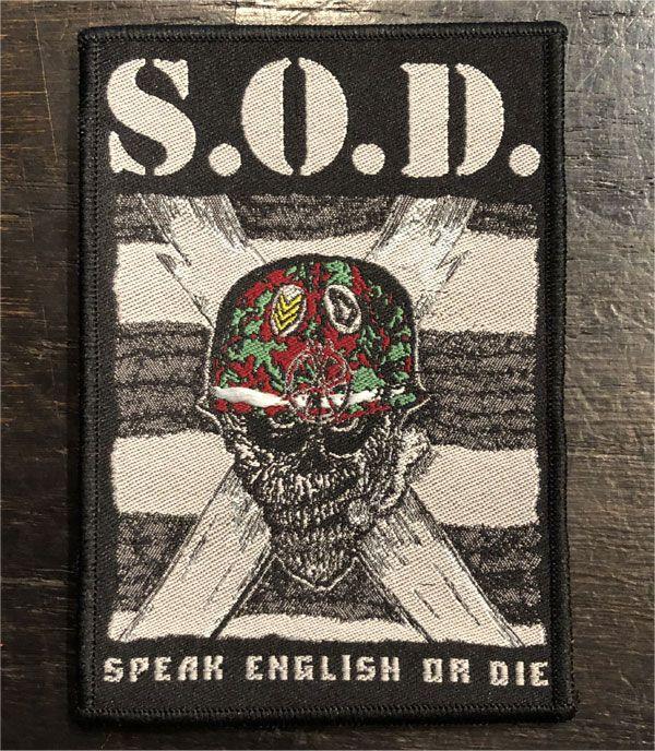 S.O.D 刺繍ワッペン SPEAK ENGLISH OR DIE