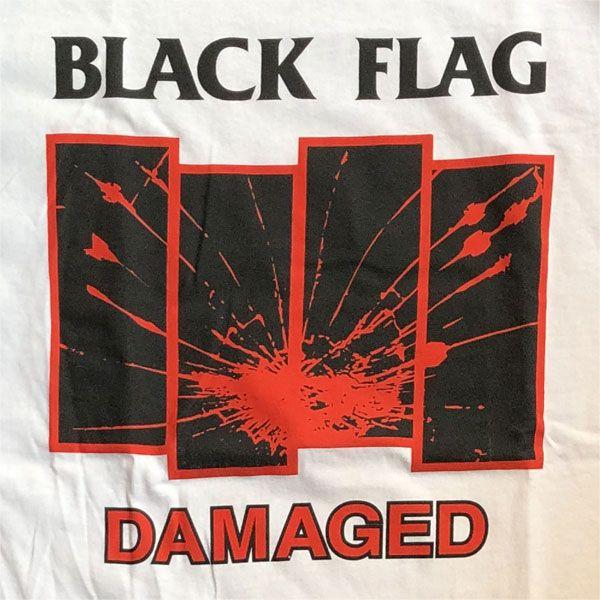 BLACK FLAG Tシャツ DAMAGED WHITE