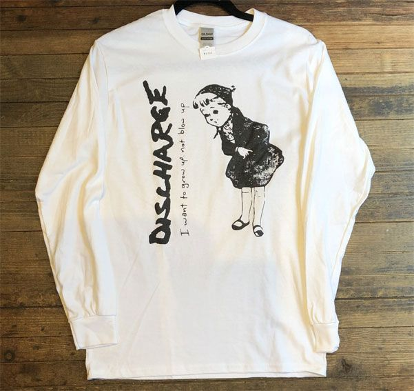 DISCHARGE ロングスリーブTシャツ I WANT TO GROW UP