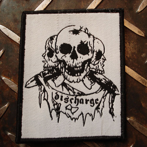 DISCHARGE DEADSTOCK刺繍ワッペン 3面ドクロ